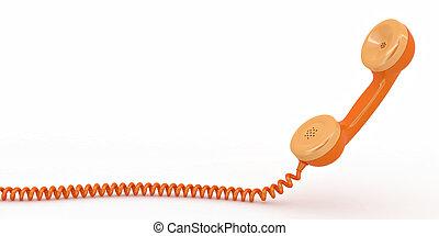 telefono, reciever, bianco, isolato, fondo