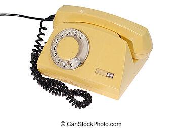 telefono, retro, giallo