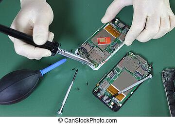 telefono, scheggia, riparazione
