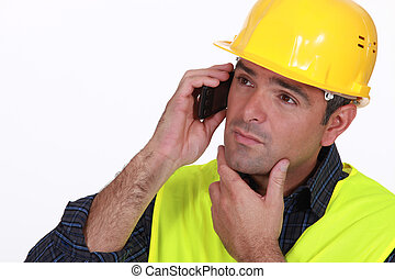 telefono, sfondo bianco, imprenditore