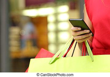 telefono, shopping, far male, acquirente