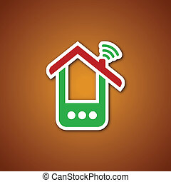 telefono, sopra, carta, caramello, casa