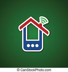 telefono, sopra, carta, casa verde