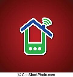 telefono, sopra, carta, rosso, casa