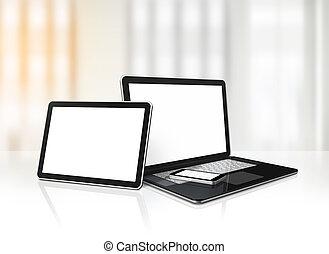 telefono, tavoletta, mobile, laptop, digitale, scrivania ufficio, pc