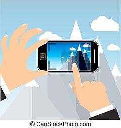 telefono, touchscreen, vettore, mobile