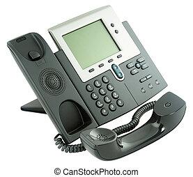 telefono ufficio, digitale, set, off-hook