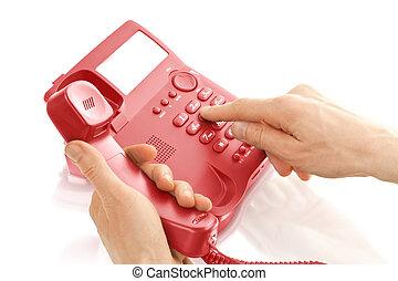 telefono, ufficio, mani