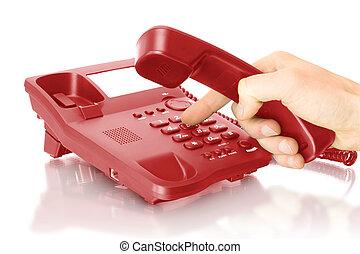 telefono, ufficio, mano