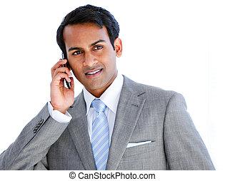 telefono, uomo affari, felice, chiamata, presa