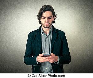 telefono, uomo barbuto, giovane, bello