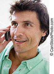 telefono, uomo sorridente, cellulare, usando