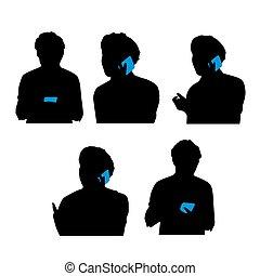 telefono, uso, silhouette, uomo