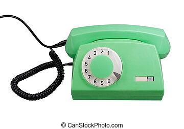 telefono, vecchio, verde, rotante, isolato