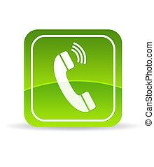 telefono, verde, icona