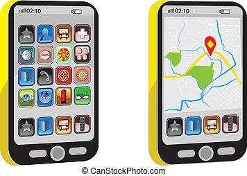 telefono, vettore, mobile