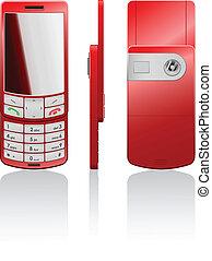 telefono, vettore, rosso, illustrazione