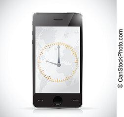 telefono, watch., disegno, illustrazione