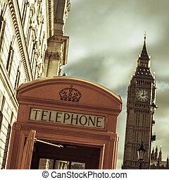 telefonzelle, und, der, big ben, in, london, vereinigtes königreich, mit
