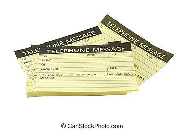 telefoon, achtergrond., stapel, papieren, boodschap, witte