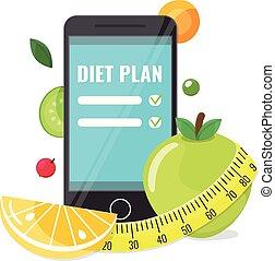 telefoon, app, plan, dieet