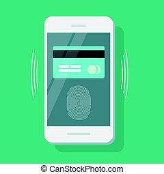telefoon, beweeglijk, krediet, veiligheid, kaart, vingerafdruk, beschermd, betaling, identiteit