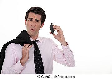 telefoon, boeiend, roepen, slecht, zakenman