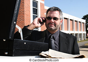 telefoon, buiten, zakenmens