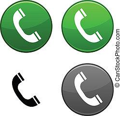 telefoon, button.