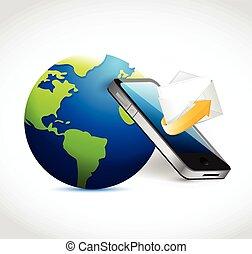 telefoon, communication., email, globe