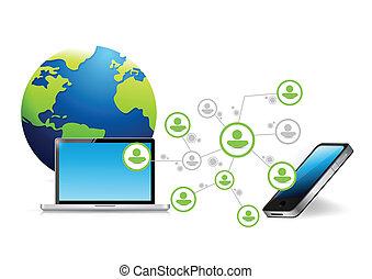 telefoon, computer net, communicatie