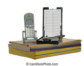 telefoon, directories, vrijstaand, witte