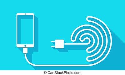 telefoon, druppel, kabel, schaduw