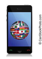 telefoon, en, vlag, globe