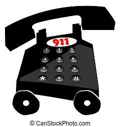 telefoon, het draaien, noodgeval, halsoverkop, -, 911