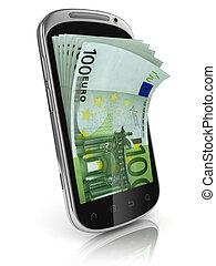 telefoon, het verdienen, smart, geld