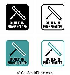 "telefoon, holder"", ""built-in, verstelbaar, universeel"