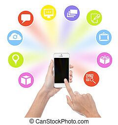 telefoon, iconen, hand, cel, toepassing, vasthouden