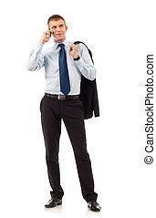 telefoon, man, zakelijk, beweeglijk