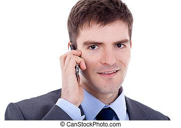 telefoon, man, zakelijk