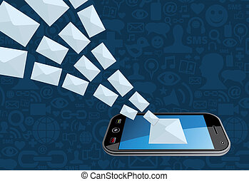 telefoon marketing, gespetter, email, pictogram