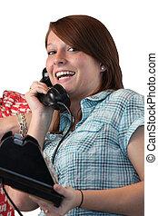 telefoon, meisje, landline, vrolijke