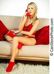 telefoon, meisje, rood