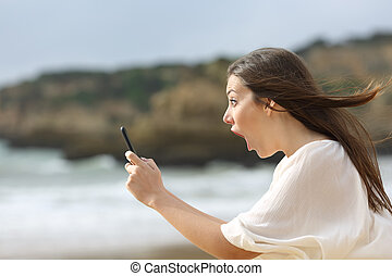 telefoon, meisje, smart, verbaasd, haar