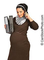 telefoon, ontvangen, slecht nieuws, zwangere