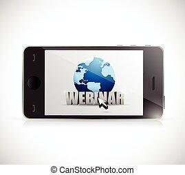 telefoon, ontwerp, webinar, illustratie, meldingsbord