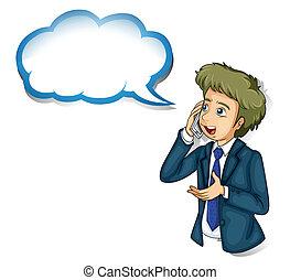 telefoon, op, callout, klesten, zakenman, lege