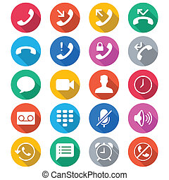 telefoon, plat, kleur, iconen