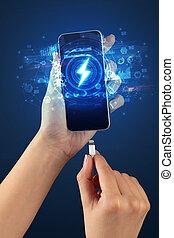 telefoon, rapporten, hand, concept, opladen