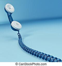 telefoon, reciever, op wit, vrijstaand, achtergrond